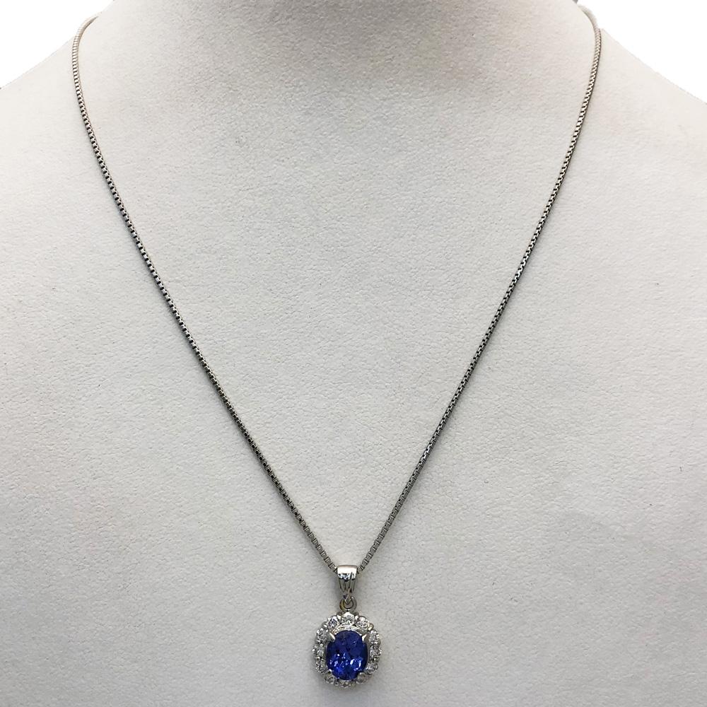 【中古美品】Pt850 タンザナイト ダイヤ ネックレス  T1.40 D0.40ct 6.7g
