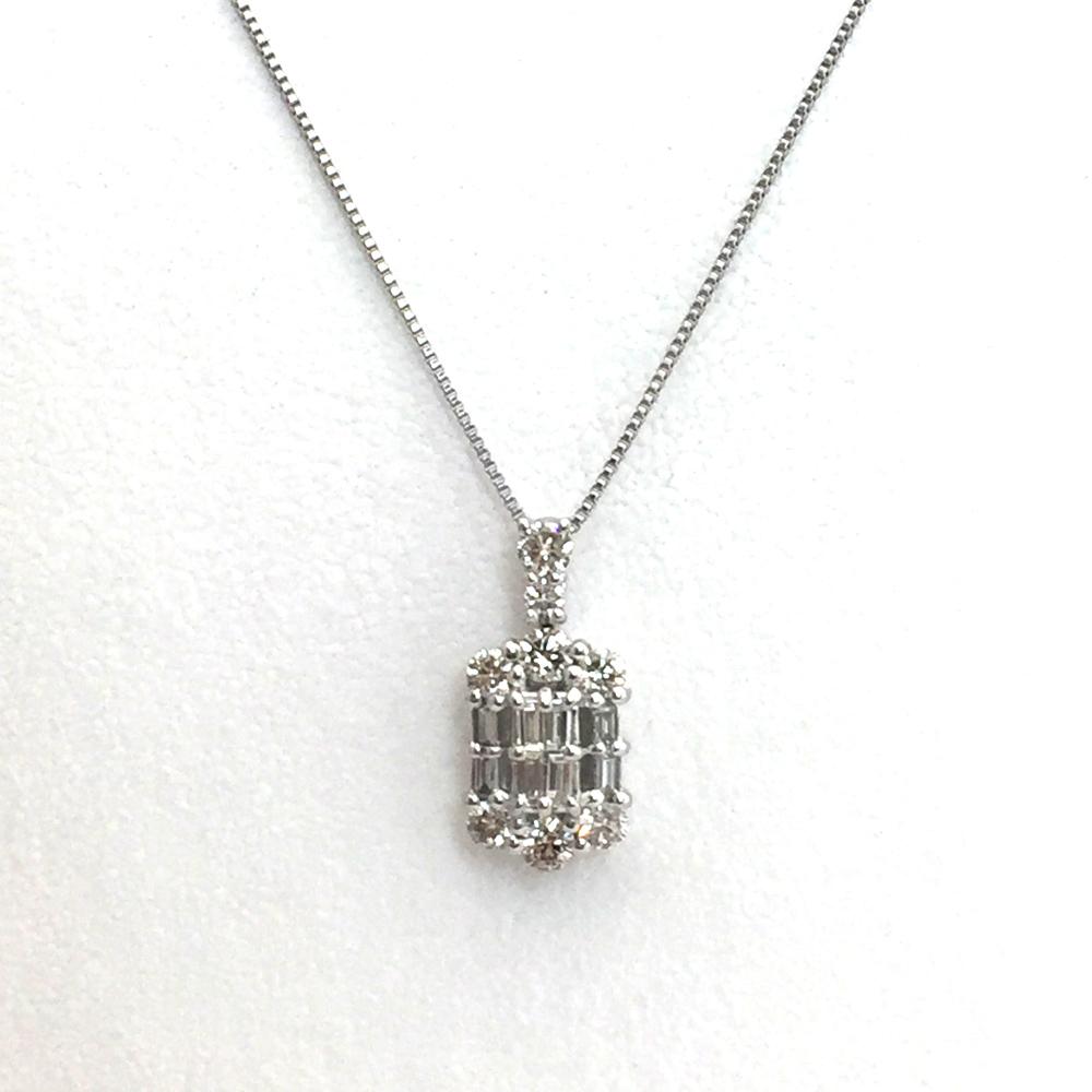 【中古】pt900/pt850 ダイヤ ネックレス D 0.50ct 3.2gレディース