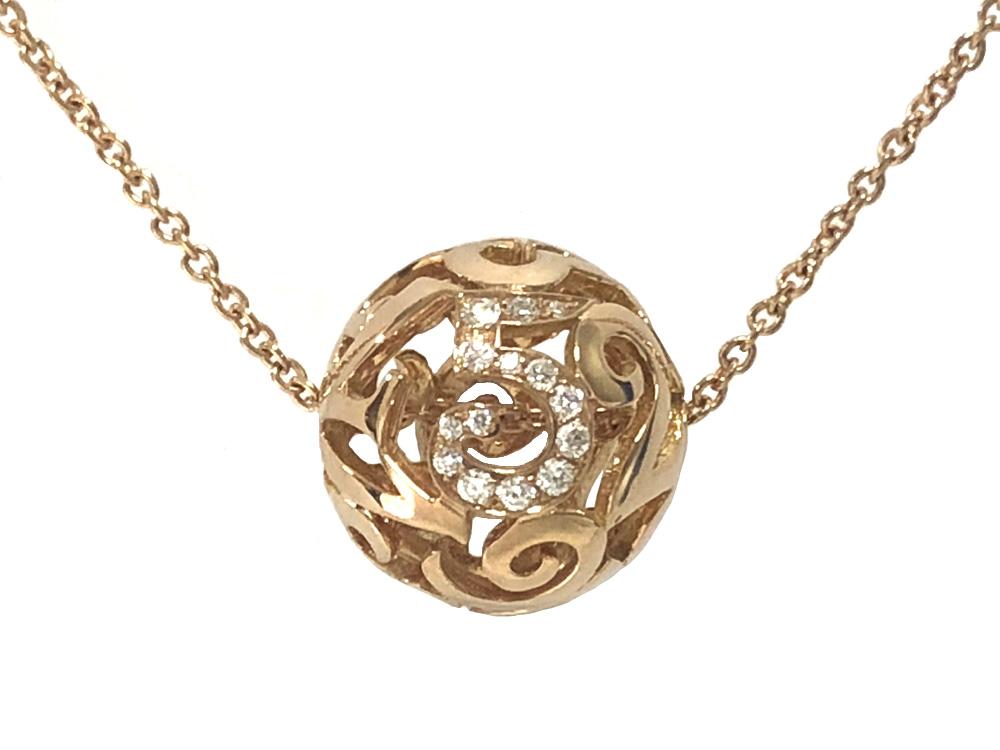 【中古】フランク・ミュラー FRANCK MULLER ダイヤモンド タリスマン ボールペンダント ネックレス PG 750 ピンクゴールド