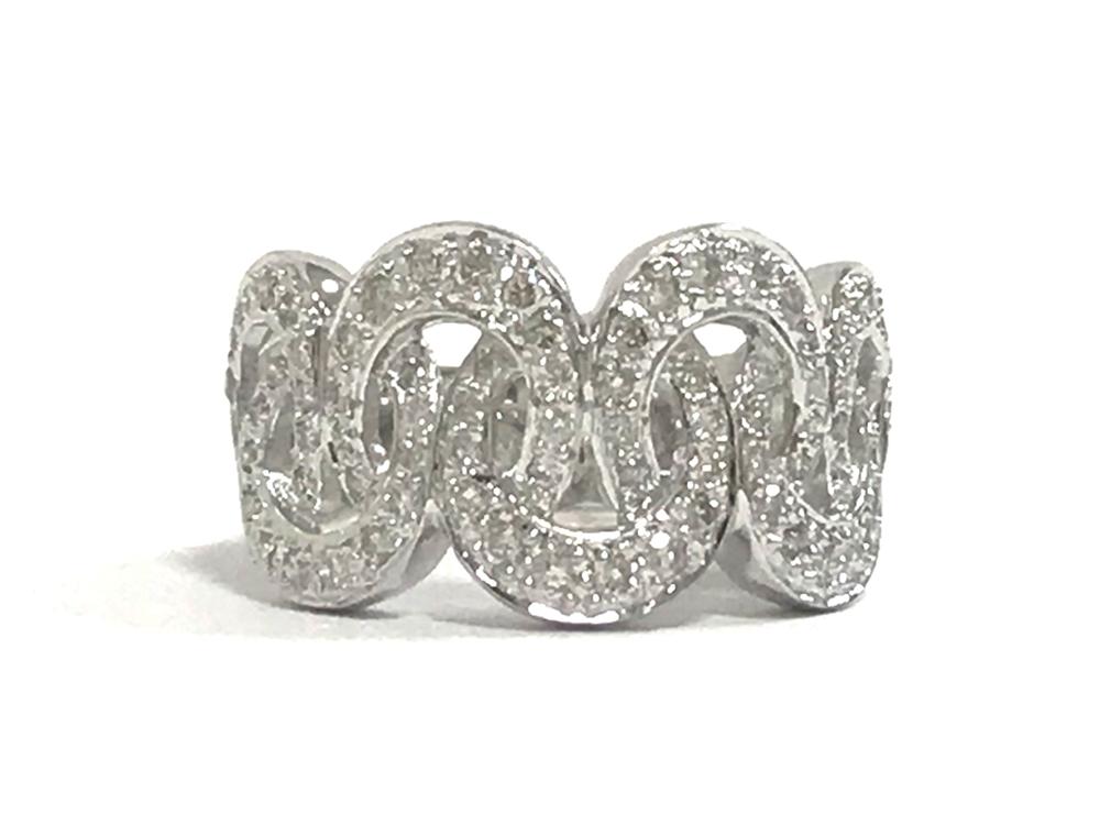 【中古】K18WG ダイヤ デザイン リング 指輪 0.72CT 15号