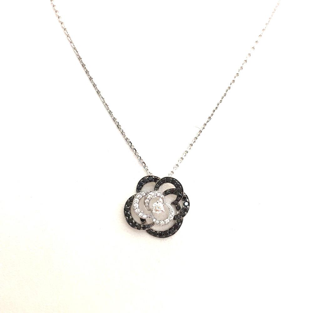 【中古美品】CHANEL シャネル カメリア ブラックダイヤ ネックレス 750ホワイトゴールド 6N1654 6.3g レディース