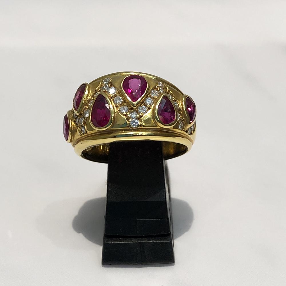 【中古】 K18 ルビー ダイヤ リング 指輪 レディース アンティーク ジュエリー ルビー1.81ct ダイヤ0.32ct 8.4g 10号