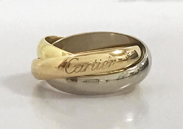 【中古】CARTIER カルティエ トリニティ リング 指輪 K18 スリーカラー ピンクゴールド ホワイトゴールド イエローゴールド PG YG WG