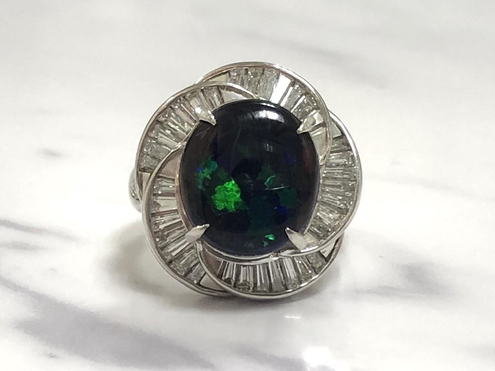 中古 pt900 リング 人気 おすすめ ブラックオパール プラチナ 入手困難 指輪 レディース ジュエリー 15.0g 5.28ct 10号 1.47ct ダイヤ