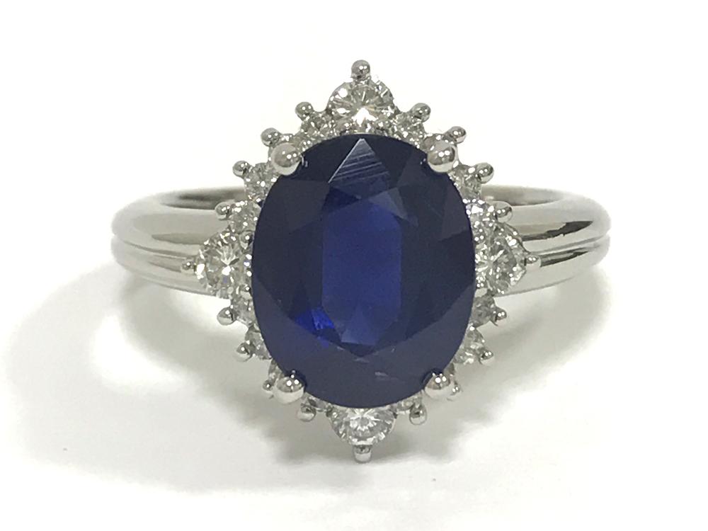 【中古】Pt900 ブルーサファイヤ 大粒 4.68ct ダイヤ 0.50ct リング 指輪
