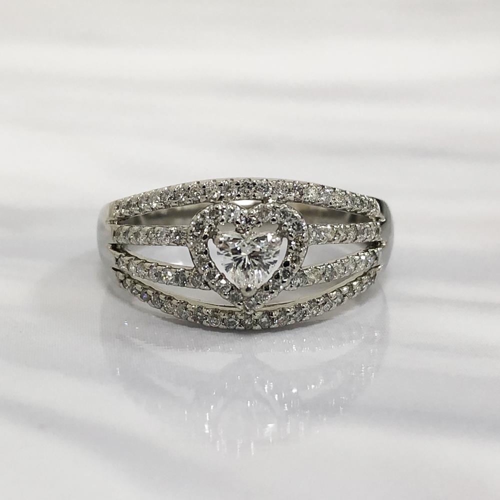 【中古】Pt900 ダイヤ ハートシェイプ デザインリング 指輪 レディース ジュエリー ダイヤ0.197ct 0.41ct 4.0g 15号