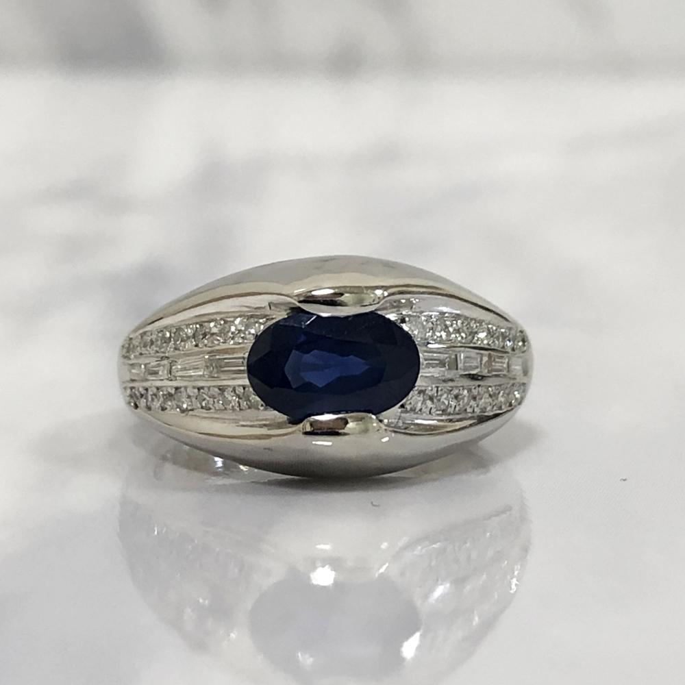 【中古】Pt900 サファイヤ 1.22ct ダイヤ 0.33ct ブルーサファイヤ リング 指輪