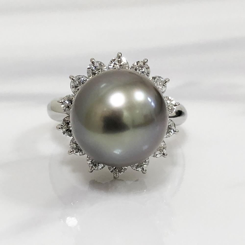 【中古】Pt900 ブラックパール リング 指輪 ダイヤ  真珠 レディース ジュエリー パール12.2mm ダイヤ1.01ct 11.0g 13号