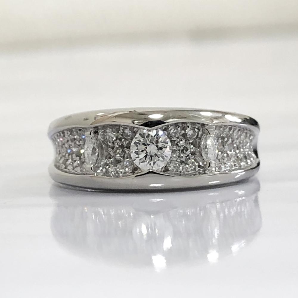 【中古】Pt900 ダイヤ デザインリング 指輪 レディース ジュエリー ダイヤ0.20ct 0.40ct 9.5g 13号