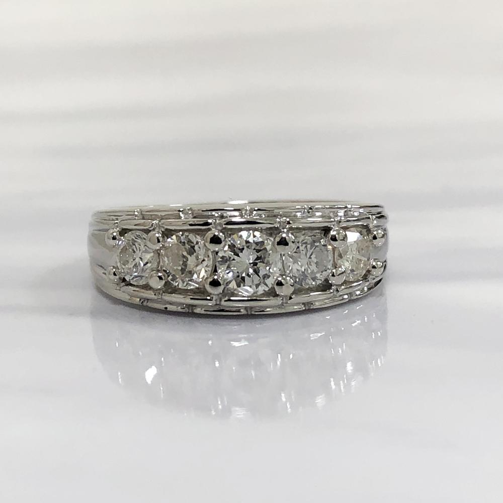 【中古】Pt900 ダイヤ デザインリング 指輪 レディース ジュエリー ダイヤ1.004ct 8.8g 15号