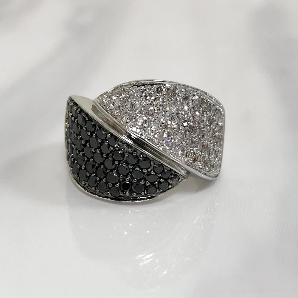 【中古】K18WG ダイヤ デザイン リング ダイヤ1.76ct 15号 9.1g ブラックダイヤ レディース
