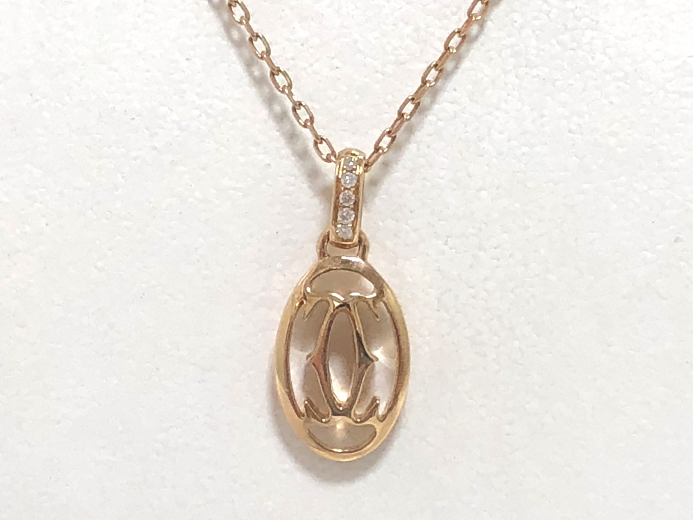 【中古】カルティエ ロゴドゥーブル ネックレス K18PG ピンクゴールド ダイヤモンド Cartier B7219200