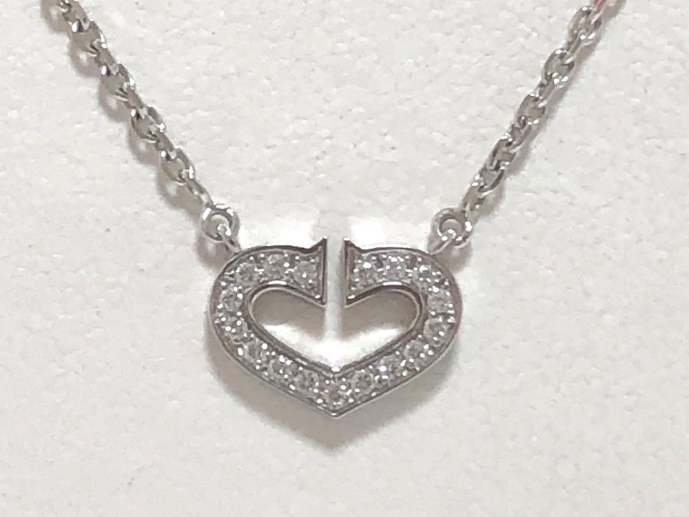 【中古】Cartier カルティエ Cハート ダイヤ ネックレス K18WG 750WG ホワイトゴールド B7008300