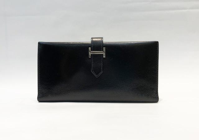【中古】エルメス HERMES べアン 二つ折り財布 ボックスカーフ ブラック×シルバー