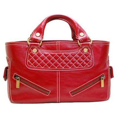 【中古】CELINE セリーヌ ブギー 赤 レッド レザー ハンド 鞄 バッグ