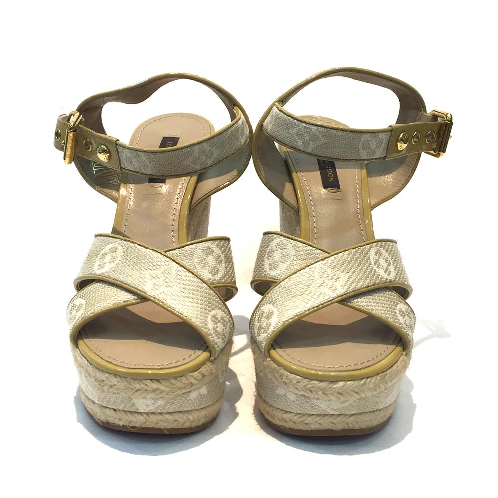 【中古】LOUIS VUITTON ルイヴィトン モノグラムミニ ウェッジソールサンダル 37サイズ(23cm) ベージュ系 レディース靴