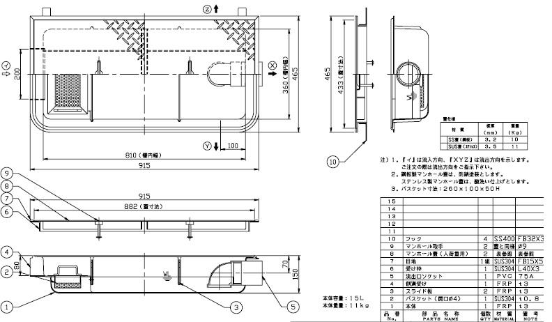 【ホーコス】GFR-15EAU 超浅型グリース阻集器(グリストラップ)側溝式 シンダー埋込型 15L鋼板製防錆塗装蓋付