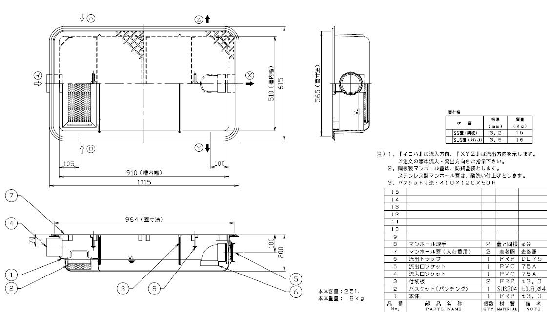 【ホーコス】GFR-25JPU 超浅型グリース阻集器(グリストラップ)パイプ式 シンダー埋込型 25L 鋼板製防錆塗装蓋付