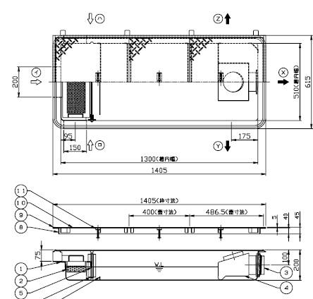 【ホーコス】[日本阻集器工業会認定品]GFRA-V70EA 超浅型グリース阻集器(グリストラップ)側溝式 シンダー埋込型鋼板製防錆塗装蓋付