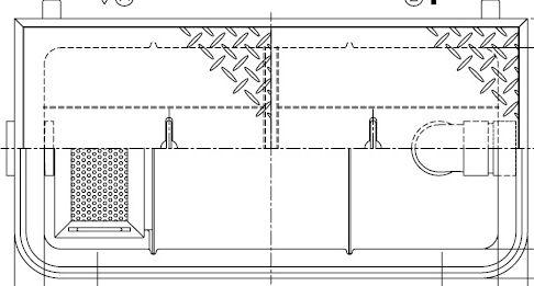【ホーコス】GFR-15PAU 超浅型グリース阻集器(グリストラップ)パイプ式 シンダー埋込型 15L 鋼板製防錆塗装蓋付
