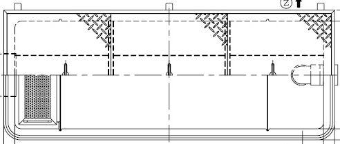 【ホーコス】GFR-40EAU 超浅型グリース阻集器(グリストラップ)側溝式 シンダー埋込型 40L 鋼板製防錆塗装蓋付