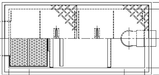 【ホーコス】GSU-15JEU《鋼板製蓋付》ステンレス製 超浅型グリース阻集器(グリストラップ)側溝流入式シンダー埋込型鋼板製防錆塗装蓋付直置き式マンホール