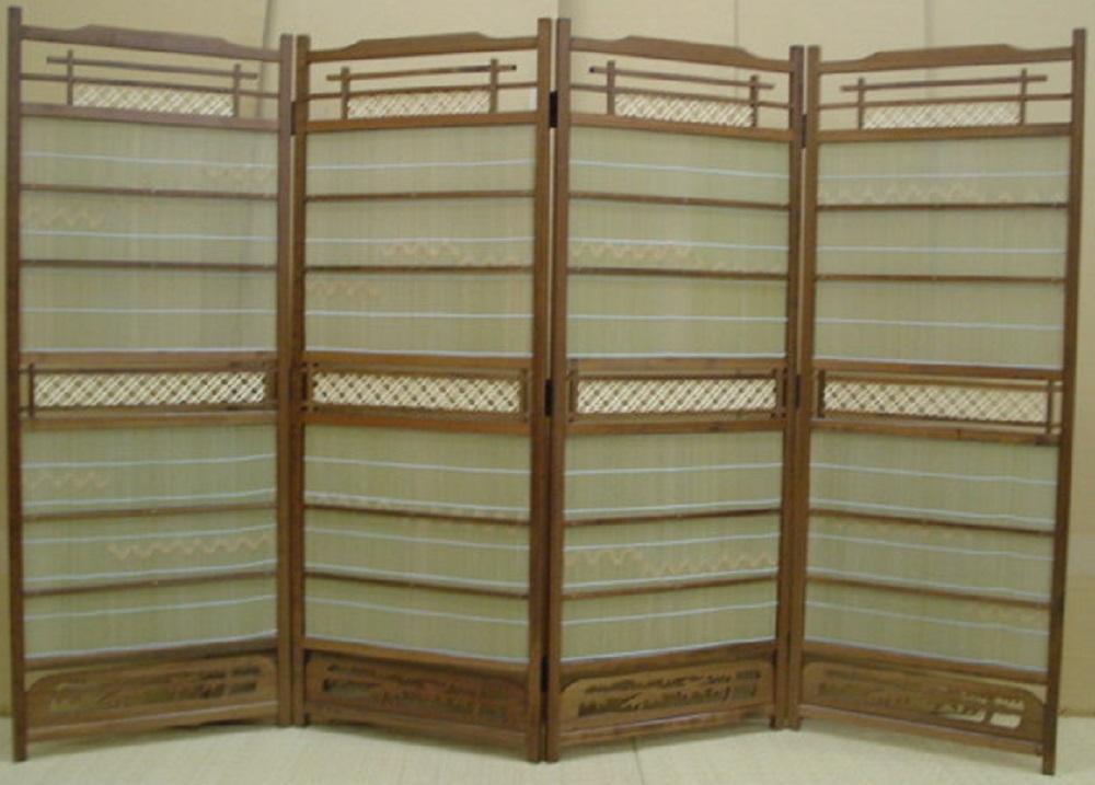 【セール品】高級竹皮山付すだれ屏風(かすり組子調)サイズ約(46cm×4曲)×高120cm