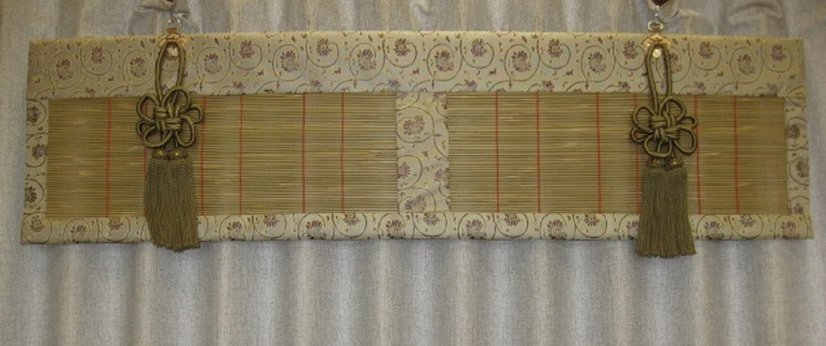 【送料無料】仏間御簾すだれ(6柄中あり)1枚 約幅91×高さ20cm<日本製・仏間専用吊り金具付>
