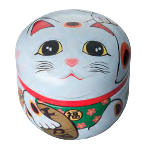 茶筒 鈴子 招き猫 白 内容量80g用 NEW売り切れる前に☆ ツマミ無し 期間限定特価品 φ86mm×高さ84mm 印刷缶
