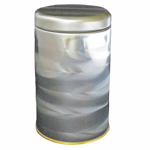 【茶筒 茶葉ストッカー保存缶】【クレール(シルバー)150g(φ74×H120mm )】 【内容量150g用 】【印刷缶】 【内蓋なし】