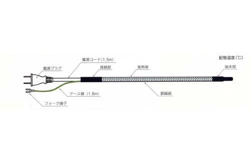 水道凍結防止帯 塩ビ管 樹脂管用 20m