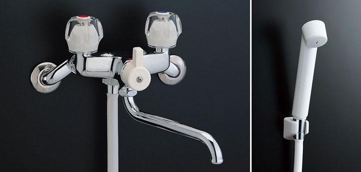 LIXIL、INAX 浴室水栓、2ハンドル式シャワーバス水栓(一時止水機能、節水スプレーシャワー付)