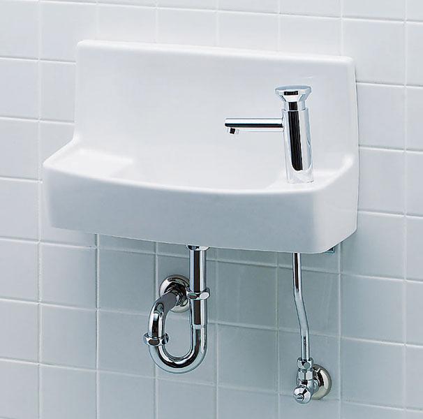 LIXIL、INAX トイレ手洗い、壁付け大型手洗器(プッシュ式セルフストップ水栓)