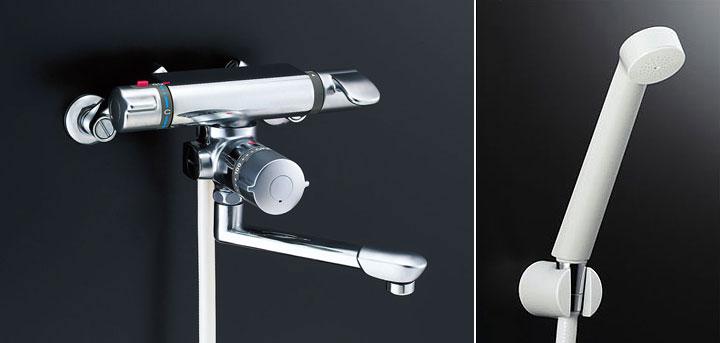 LIXIL、INAX 浴室水栓、アステシアシリーズ、サーモ付シャワーバス水栓(スプレーシャワー、浴槽・洗い場兼用、定量止水機能付)