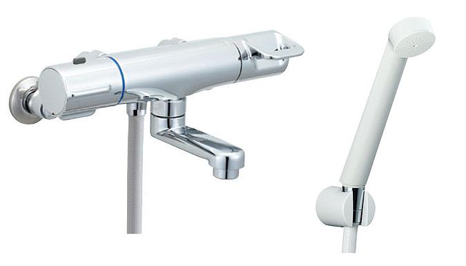 LIXIL、INAX 浴室水栓、クロマーレシリーズ、サーモ付シャワーバス水栓(エコフルスプレーシャワー、洗い場専用)