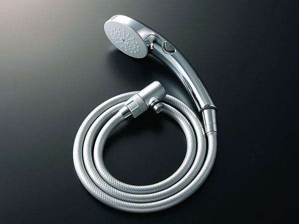 LIXIL、INAX シャワー部品、エコフル節水スイッチシャワー(樹脂製シルバーホース1.6m・止水バルブ内蔵シャワーエルボ付)