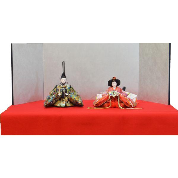 ひな人形 3点セット 親王毛せん飾り DIYひな 京十番 三五 親王 藍地合わせ紋 屏風 銀 l36 130911313