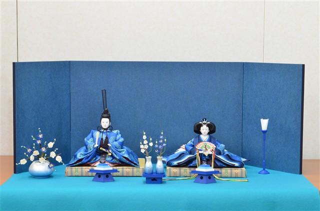 ひな人形 きよら エクセレントブルー コンパクト中型 フルタイプ 親王毛せん飾りke37aq 131161