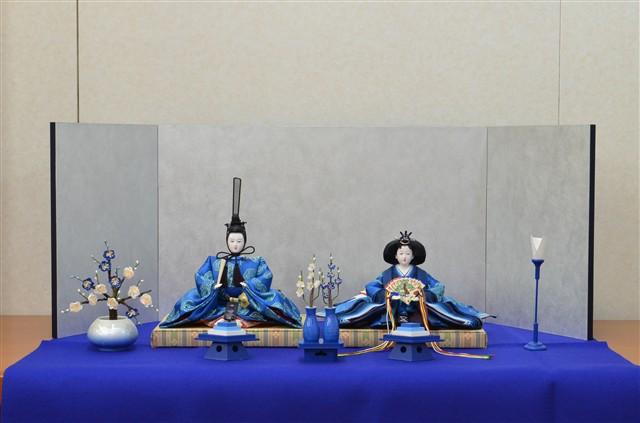 ひな人形 きよら エクセレントブルー コンパクト中型 フルタイプ 親王毛せん飾りke36bl 131475