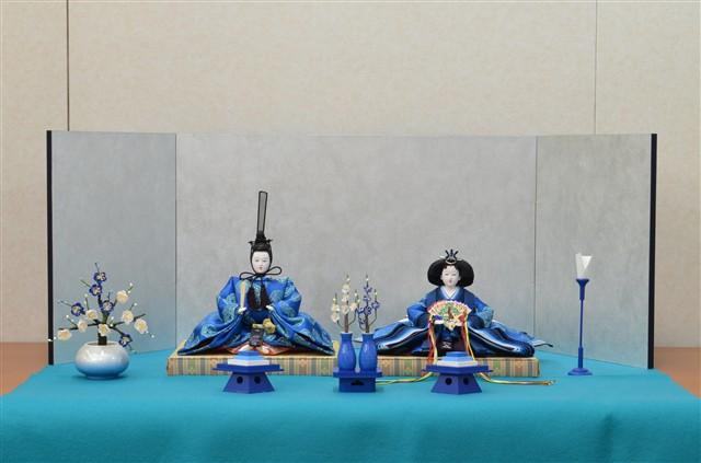 ひな人形 きよら エクセレントブルー コンパクト中型 フルタイプ 親王毛せん飾りke36aq 132076