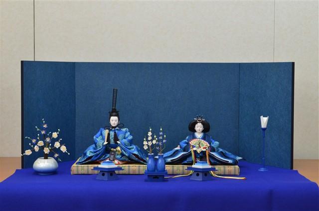 ひな人形 きよら エクセレントブルー コンパクト中型 フルタイプ 親王毛せん飾りke37bl 132083