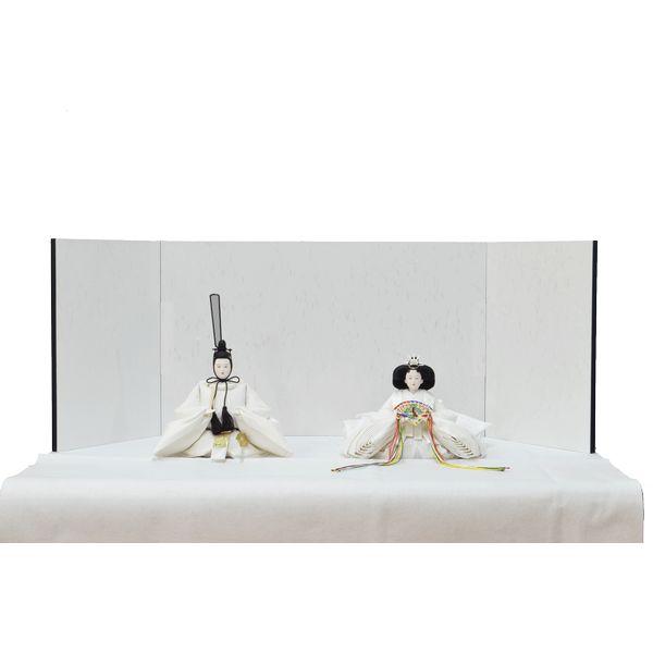 ひな人形 きよら スノーホワイト コンパクト中型 シンプルタイプ 親王毛せん飾りkw38wh 132458303