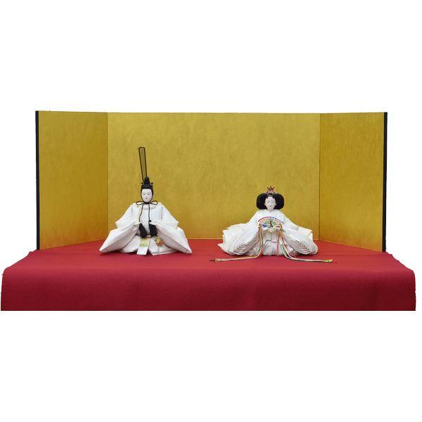 ひな人形 きよら スノーホワイト コンパクト中型 シンプルタイプ 親王毛せん飾りkw35pu 132458306