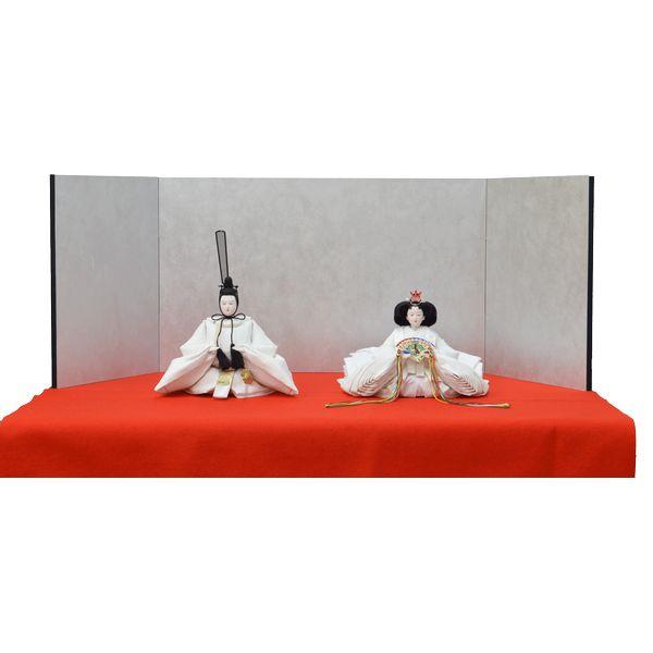 ひな人形 3点セット 親王毛せん飾り きよら 白 京十番 三五 スノーホワイト 銀屏風 赤毛せん kw36re 132458308