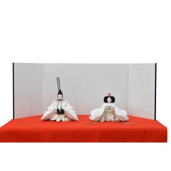 ひな人形 3点セット 親王毛せん飾り きよら 白 京十番 三五 スノーホワイト 白屏風 赤毛せん kw38re 132458309