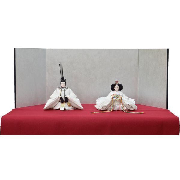 ひな人形 きよら スノーホワイト コンパクト中型 シンプルタイプ 親王毛せん飾りkw36pu 132458310