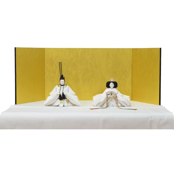 ひな人形 3点セット 親王毛せん飾り きよら 白 京十番 三五 スノーホワイト 金屏風 白毛せん kw35wh 132458315