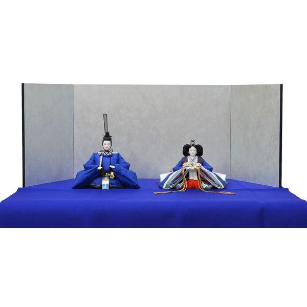 ひな人形 きよら スカイブルー コンパクト中型 シンプルタイプ 親王毛せん飾りkc36bl 132458331