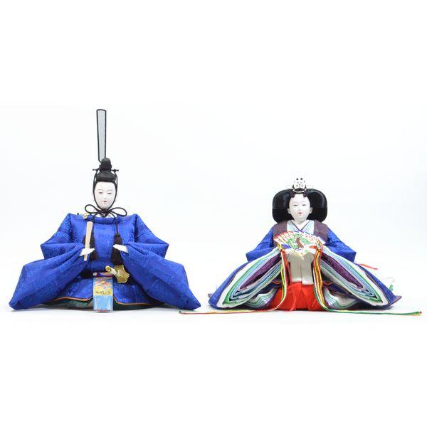 ひな人形 親王単品 きよら 青 京十番 三五 スカイブルー 桐竹鳳凰 302219