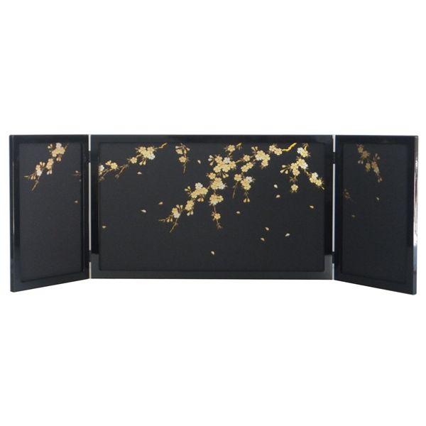 ひな人形 ひな道具 単品 部品 売り 三曲屏風 和らぎYM 60-25-02 黒枠和桜 302073